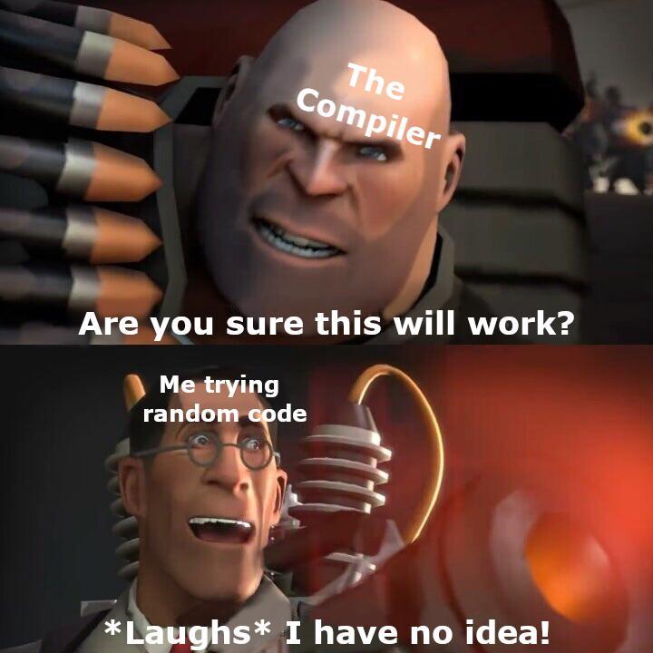 My 19th attempt at compiling C++ code   code-memes, c++-memes, idea-memes, ide-memes   ProgrammerHumor.io