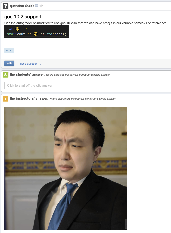 A hidden gem in my class discussion board   class-memes, variable name-memes   ProgrammerHumor.io