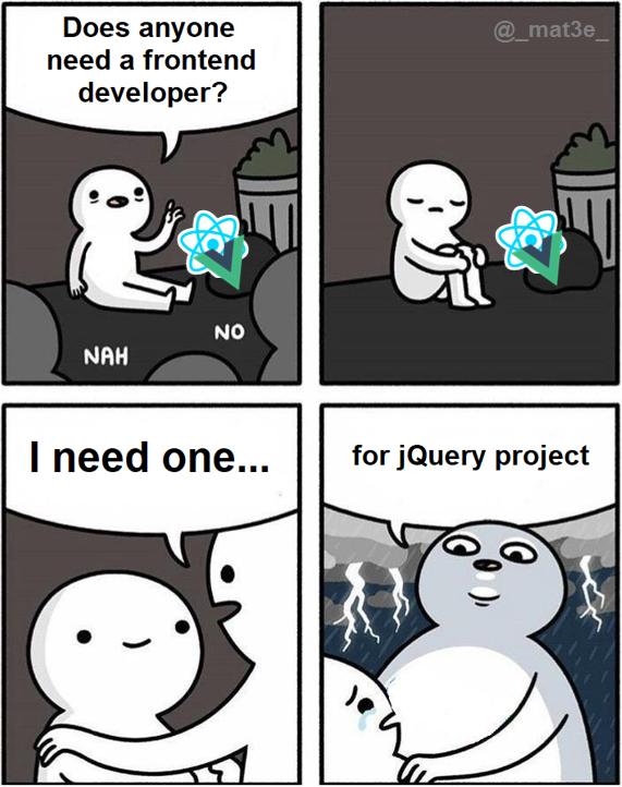 jQuery strikes again | developer-memes, frontend-memes, jquery-memes, query-memes | ProgrammerHumor.io