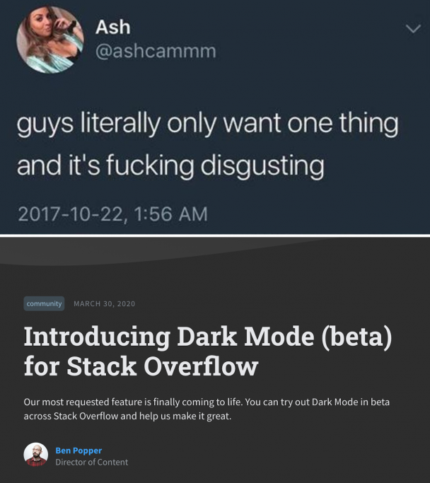 Disgustingly awesome! | stack-memes, stack overflow-memes, try-memes, overflow-memes, IT-memes, feature-memes | ProgrammerHumor.io