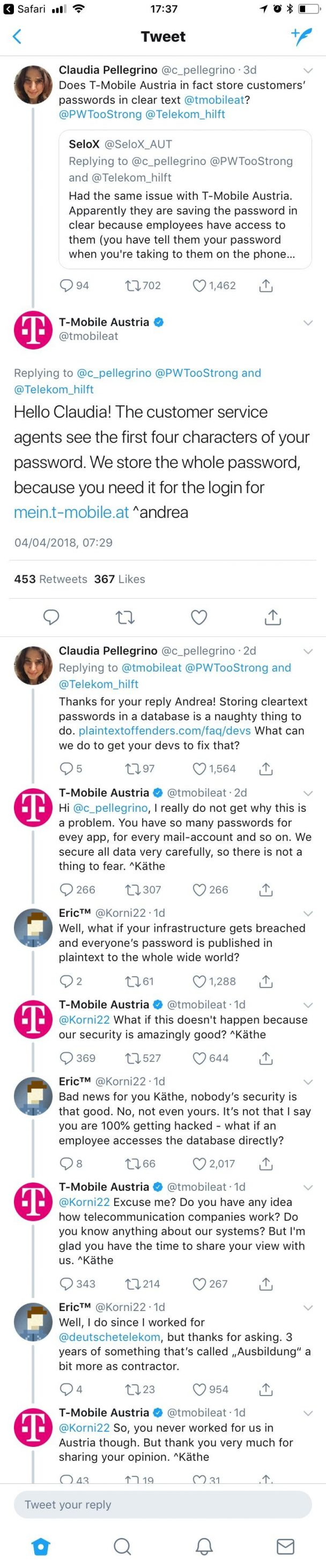 "Most of the thread of T Mobile Austria's ""super secure"" password storing techniques 