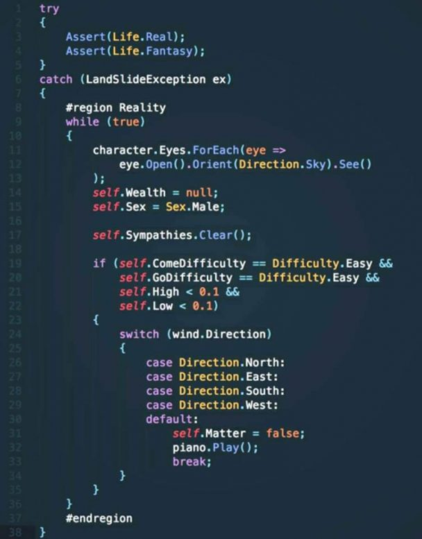 Bohemian Rhapsody in C#   try-memes, catch-memes, lan-memes, c#-memes, ide-memes   ProgrammerHumor.io