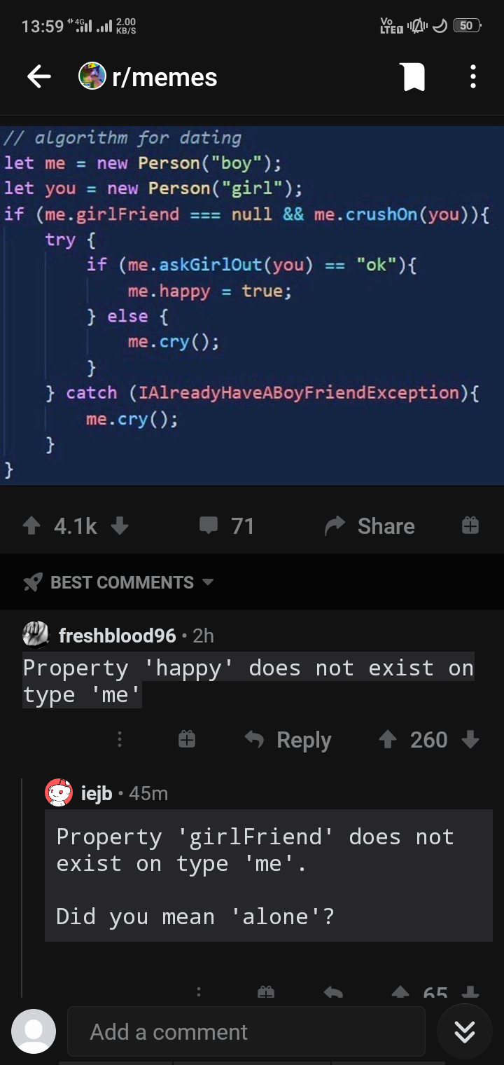 def Alone(request): return render (request, 'cry') | catch-memes, algorithm-memes, exception-memes, comment-memes | ProgrammerHumor.io