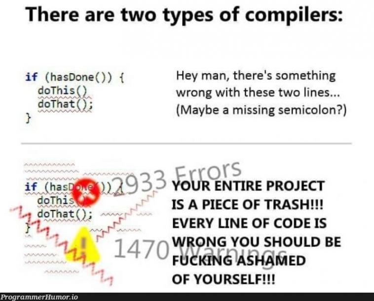 C++ flashbacks | code-memes, c++-memes, compiler-memes, semicolon-memes | ProgrammerHumor.io