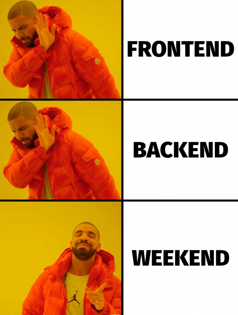 Weekends are my choice!   backend-memes, frontend-memes   ProgrammerHumor.io