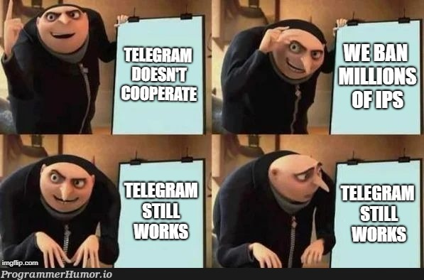 Russia bans over 1.8 million amazon and google cloud ips in an attempt to take down telegram | google-memes, amazon-memes, cloud-memes | ProgrammerHumor.io