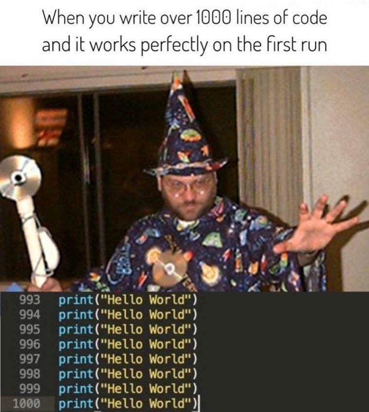 Best feeling!   code-memes, lines of code-memes   ProgrammerHumor.io