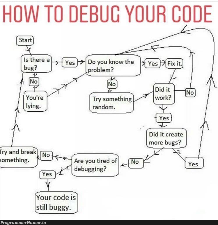 Debugging code   code-memes, debugging-memes, bugs-memes, bug-memes, debug-memes, IT-memes   ProgrammerHumor.io