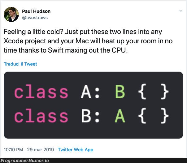 Feeling a little cold?   code-memes, web-memes, aws-memes, swift-memes, xcode-memes, class-memes, mac-memes, twitter-memes   ProgrammerHumor.io