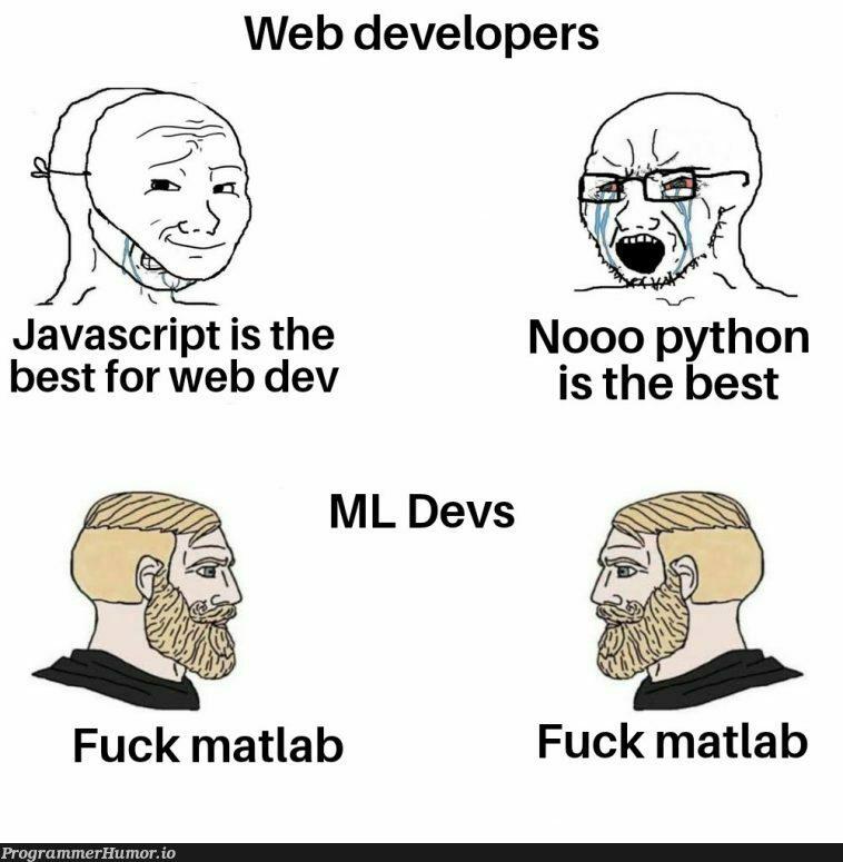 Some generic title   developer-memes, javascript-memes, web developer-memes, java-memes, python-memes, web-memes, devs-memes, matlab-memes, ML-memes   ProgrammerHumor.io
