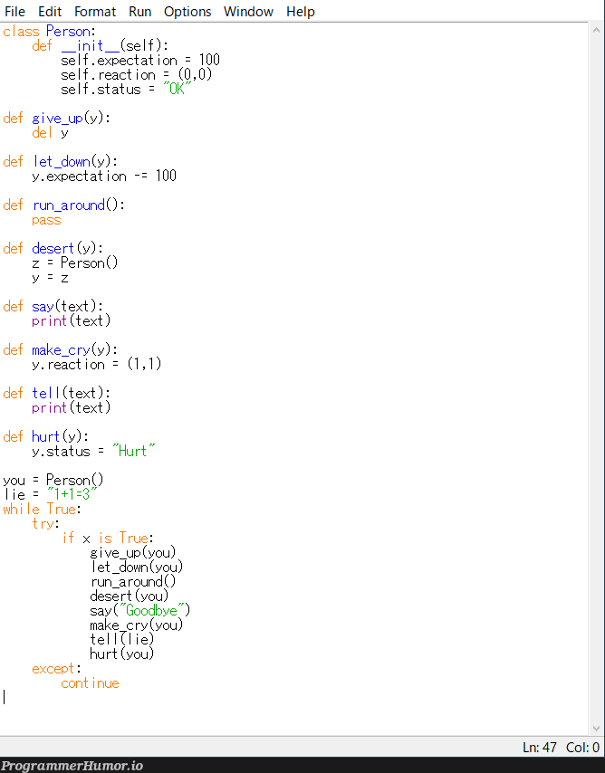 Anyone mind checking this code I'm rolling out?   code-memes, try-memes, react-memes, class-memes   ProgrammerHumor.io