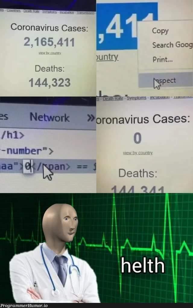 Helth | virus-memes, search-memes, network-memes | ProgrammerHumor.io