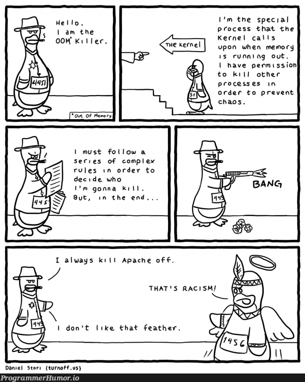 The OOM killer   apache-memes, ide-memes, kernel-memes   ProgrammerHumor.io