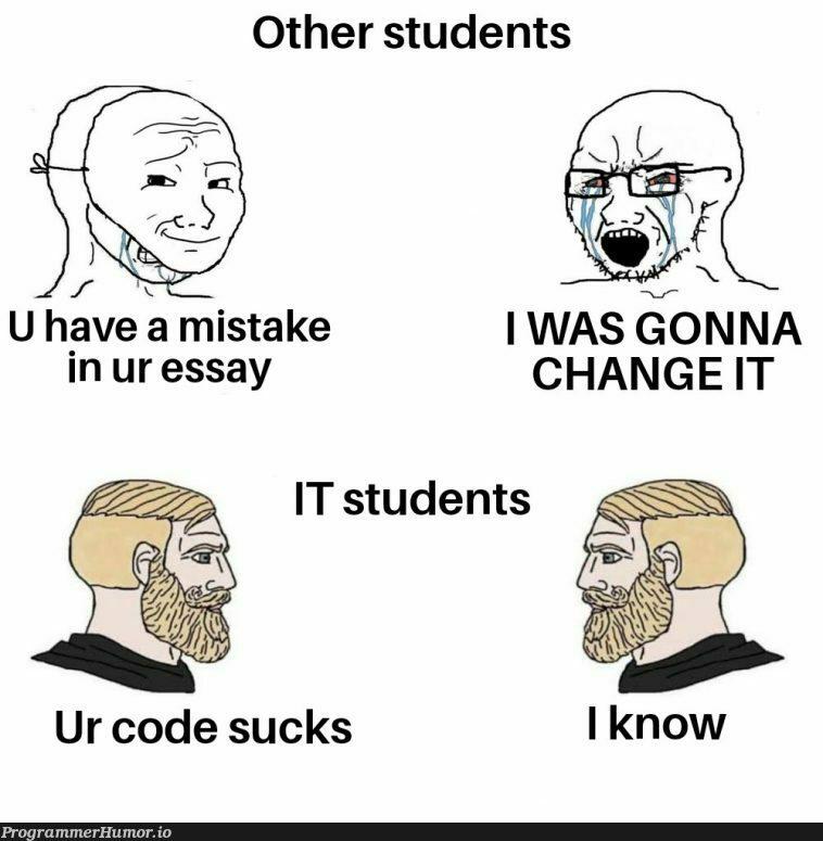 Chad IT students   code-memes, IT-memes   ProgrammerHumor.io