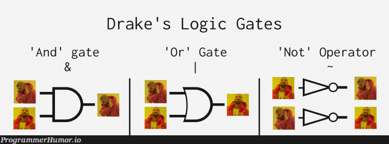 Drake teaches logic operations.   ProgrammerHumor.io