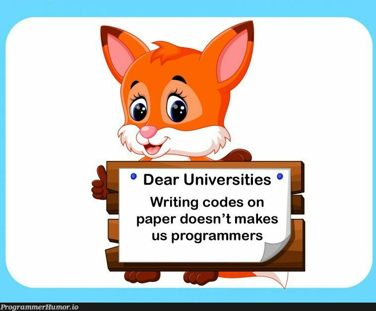 Universities please understand us, programmers. | programmer-memes, code-memes, program-memes | ProgrammerHumor.io