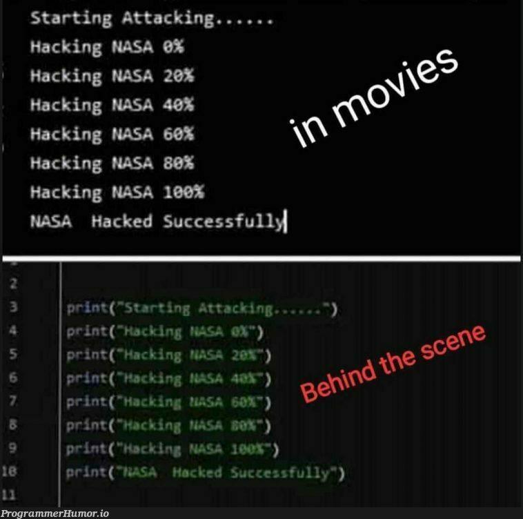 I wonder If they heard of for loops? | hacking-memes, loops-memes, for loop-memes, oop-memes, mac-memes | ProgrammerHumor.io