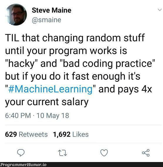 AI is the future, folks. | coding-memes, program-memes, random-memes, machine-memes, IT-memes, mac-memes, retweet-memes | ProgrammerHumor.io
