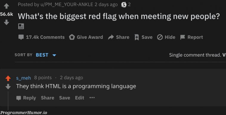 Red flag..   programming-memes, html-memes, program-memes, ide-memes, ML-memes, language-memes, comment-memes, programming language-memes   ProgrammerHumor.io