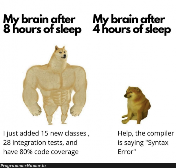 Need more sleep | code-memes, test-memes, class-memes, error-memes, integration test-memes, compiler-memes, tests-memes | ProgrammerHumor.io