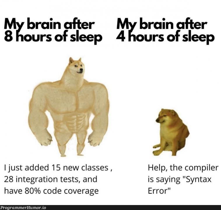 Need more sleep   code-memes, test-memes, class-memes, error-memes, integration test-memes, compiler-memes, tests-memes   ProgrammerHumor.io