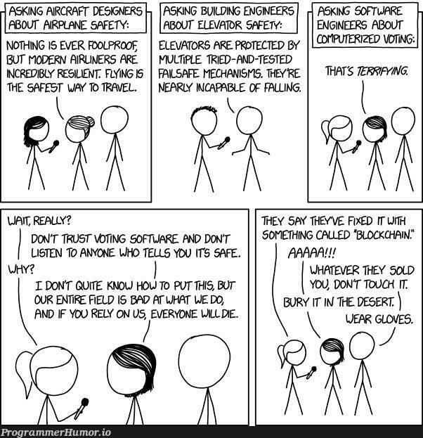 Timeless xkcd in honor of the Iowa Caucuses | software-memes, engineer-memes, design-memes, designer-memes, test-memes, loc-memes, lock-memes, list-memes, fix-memes, tested-memes, IT-memes, rust-memes | ProgrammerHumor.io