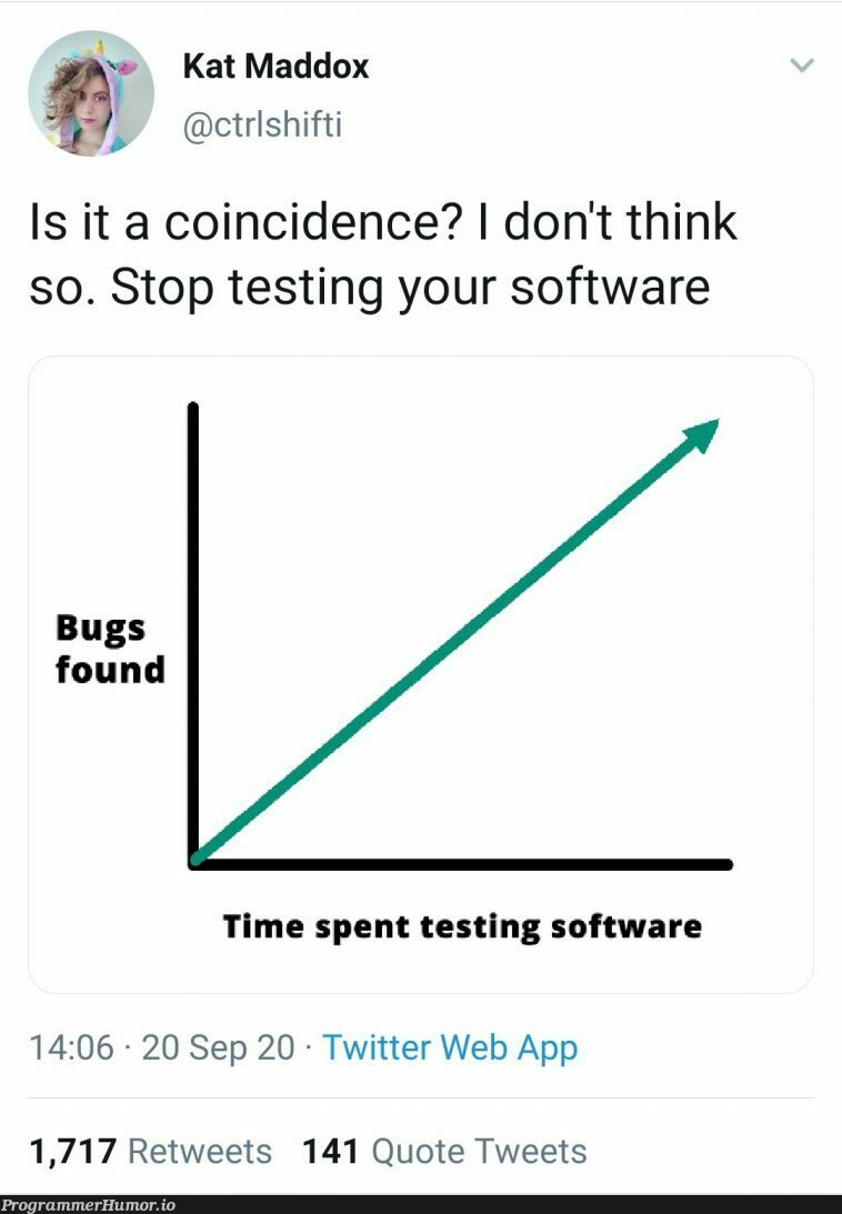 Correlation != Causation   software-memes, web-memes, bugs-memes, testing-memes, test-memes, bug-memes, IT-memes, ide-memes, twitter-memes, retweet-memes   ProgrammerHumor.io