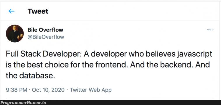 A Jack of all Stacks   developer-memes, javascript-memes, java-memes, web-memes, backend-memes, stack-memes, frontend-memes, data-memes, database-memes, overflow-memes, twitter-memes, full stack-memes   ProgrammerHumor.io