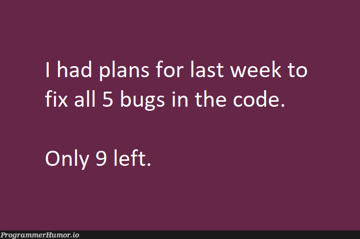 I actually have 21 bugs left :( | code-memes, bugs-memes, bug-memes, fix-memes | ProgrammerHumor.io