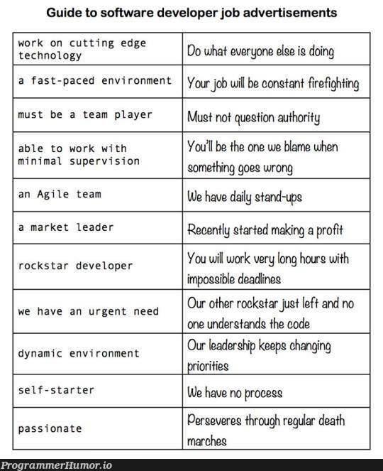 Guide to Software Engineering Job Posts | developer-memes, software-memes, code-memes, tech-memes, technology-memes, software developer-memes, engineer-memes, software engineer-memes, engineering-memes, edge-memes, ide-memes | ProgrammerHumor.io