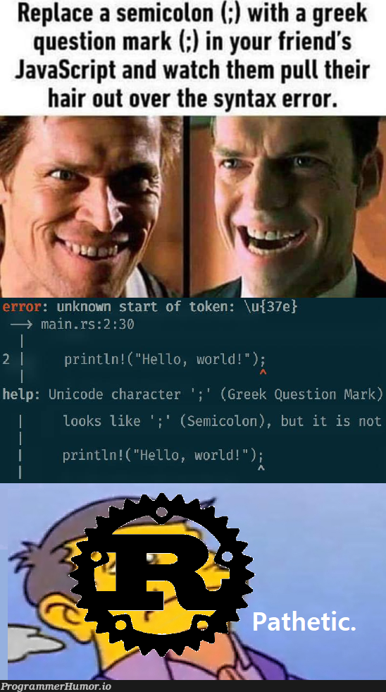 You have no power here   javascript-memes, code-memes, java-memes, error-memes, unicode-memes, IT-memes, semicolon-memes, syntax error-memes   ProgrammerHumor.io