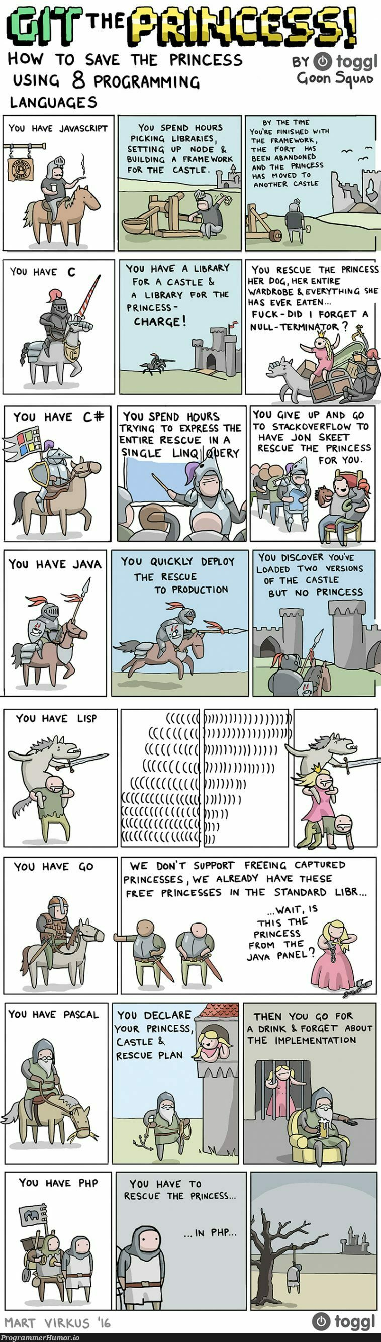 How to save the princess using programming languages | programming-memes, javascript-memes, java-memes, stackoverflow-memes, stack-memes, program-memes, try-memes, node-memes, git-memes, version-memes, express-memes, overflow-memes, production-memes, language-memes, framework-memes, product-memes, programming language-memes | ProgrammerHumor.io