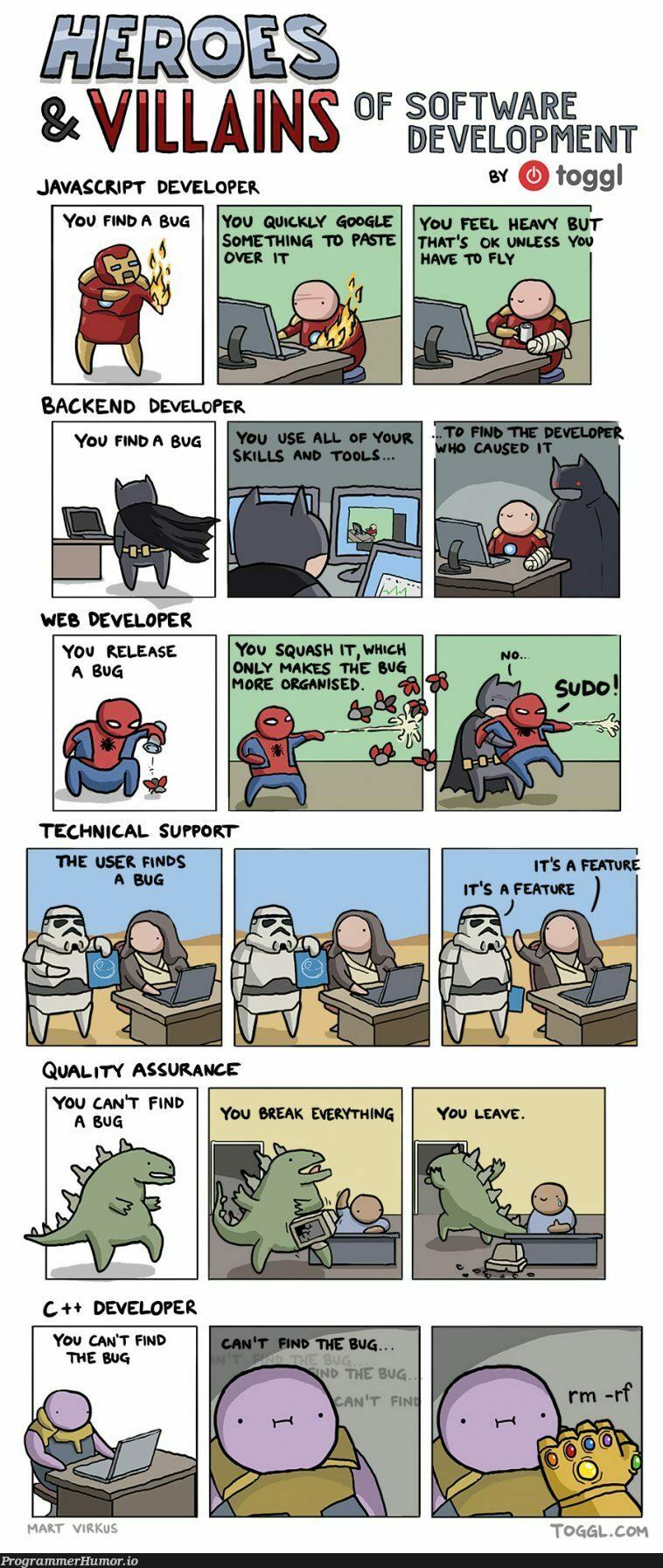 Heroes and villains of software development | developer-memes, javascript-memes, software-memes, java-memes, development-memes, javascript dev-memes, bug-memes, release-memes | ProgrammerHumor.io
