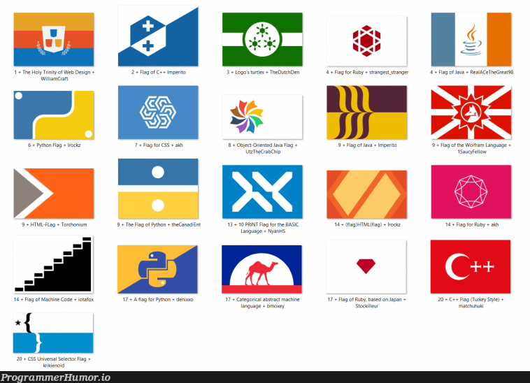 Folk over at /r/vexillology designed flag for our favorite languages! | html-memes, css-memes, code-memes, java-memes, python-memes, web-memes, design-memes, c++-memes, machine-memes, ruby-memes, object-memes, mac-memes, ML-memes, language-memes, cs-memes | ProgrammerHumor.io