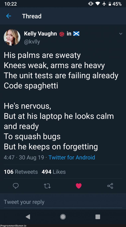 Eminem codes   code-memes, android-memes, bugs-memes, test-memes, bug-memes, unit test-memes, tests-memes, laptop-memes, twitter-memes, retweet-memes   ProgrammerHumor.io