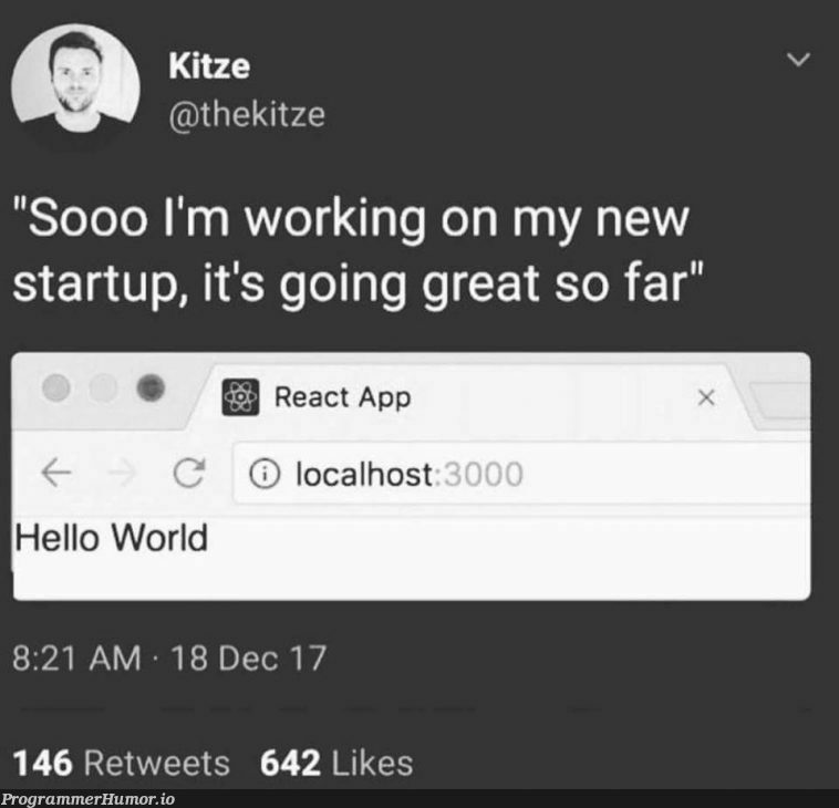 Progress so far! | react-memes, loc-memes, retweet-memes, startup-memes | ProgrammerHumor.io