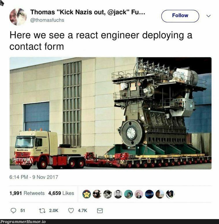I hate react   engineer-memes, react-memes, retweet-memes   ProgrammerHumor.io