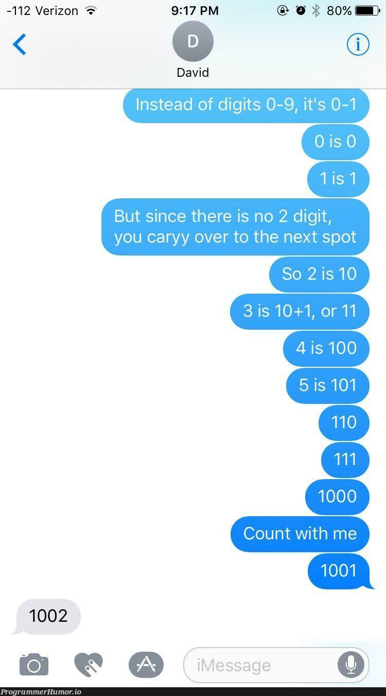 Teaching my brother binary   git-memes, binary-memes   ProgrammerHumor.io
