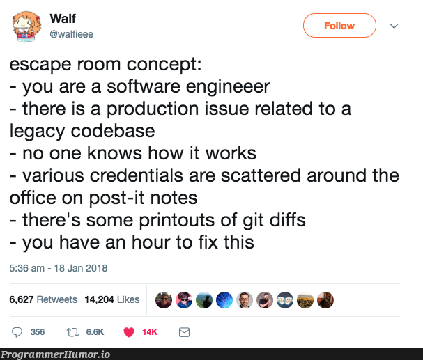 This escape room takes place at 4PM on Friday   software-memes, code-memes, git-memes, fix-memes, production-memes, IT-memes, credentials-memes, product-memes   ProgrammerHumor.io