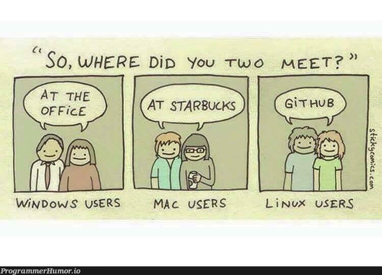 How OS fanboys (and girls) meet   linux-memes, ux-memes, mac-memes   ProgrammerHumor.io