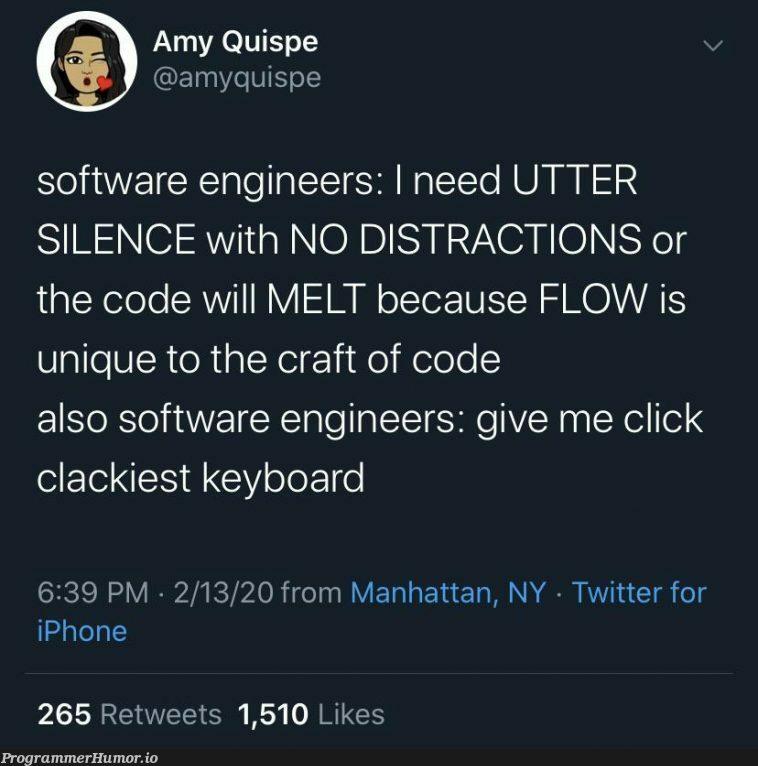 Don't forget the noise-cancelling headphones | software-memes, code-memes, engineer-memes, software engineer-memes, iphone-memes, cli-memes, twitter-memes, retweet-memes | ProgrammerHumor.io