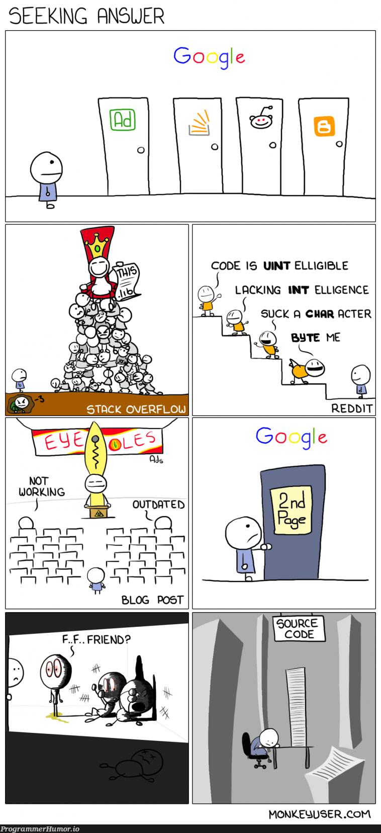 Seeking Answer | code-memes, google-memes, reddit-memes, source code-memes | ProgrammerHumor.io