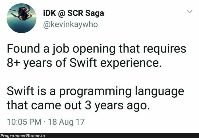 Job offer written by HR   programming-memes, program-memes, swift-memes, language-memes, programming language-memes   ProgrammerHumor.io