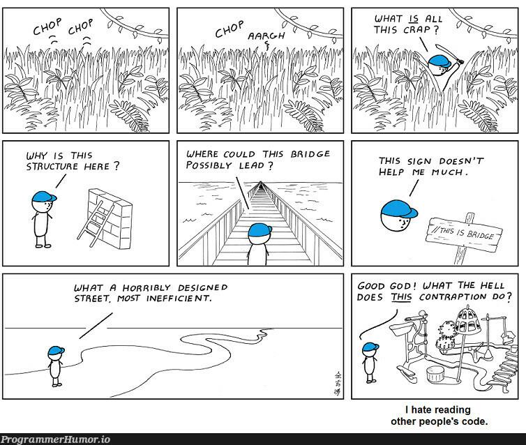 Every Block of code has its own story!   code-memes, design-memes, loc-memes, lock-memes   ProgrammerHumor.io