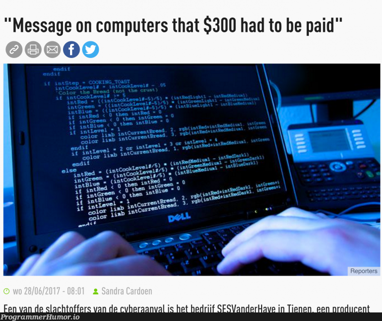 Cyberattack? Let's use a picture of code for a toaster-simulator   code-memes, computer-memes   ProgrammerHumor.io