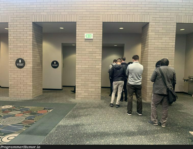Tech summits: the one time the men's bathroom line exceeds the women's ( @ silicon slopes)   tech-memes   ProgrammerHumor.io