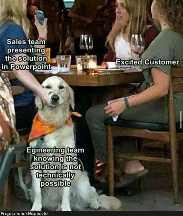 Sales vs. engineering | engineer-memes, engineering-memes | ProgrammerHumor.io