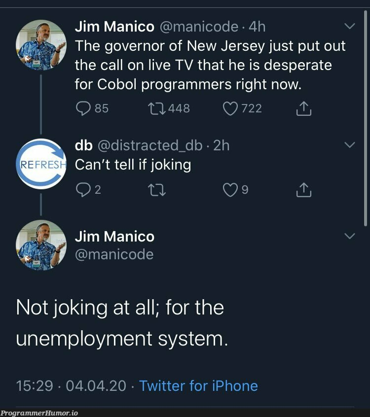 The reports of COBOL's death are greatly exaggerated | programmer-memes, code-memes, iphone-memes, program-memes, twitter-memes | ProgrammerHumor.io