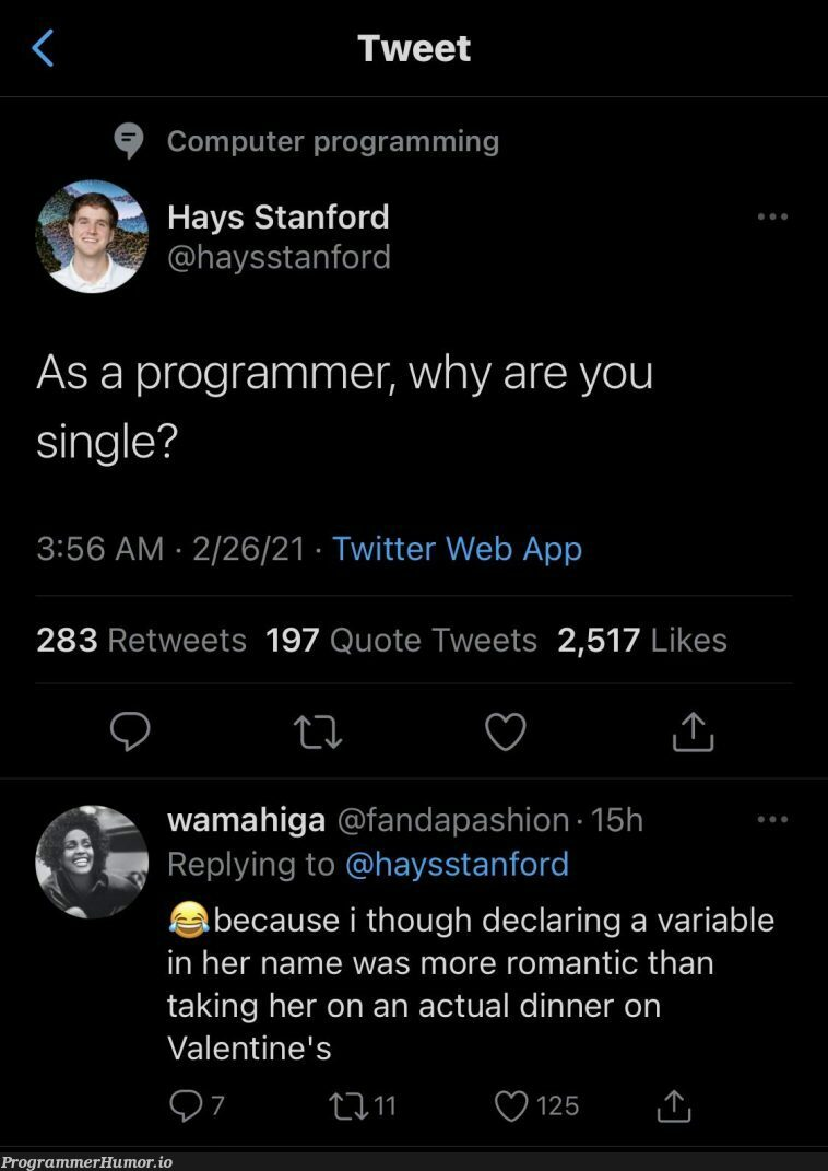 A true act of love | programming-memes, programmer-memes, computer-memes, web-memes, program-memes, twitter-memes, retweet-memes | ProgrammerHumor.io