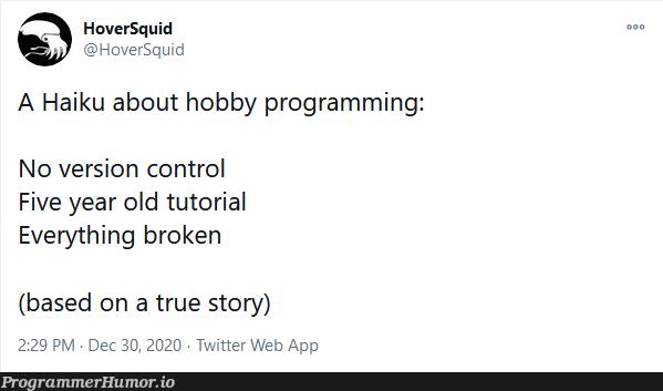 A haiku about hobby programming | programming-memes, web-memes, program-memes, version-memes, version control-memes, twitter-memes | ProgrammerHumor.io
